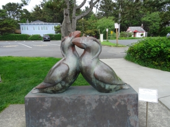 Tufted Puffin statue in Cannon Beach, OR